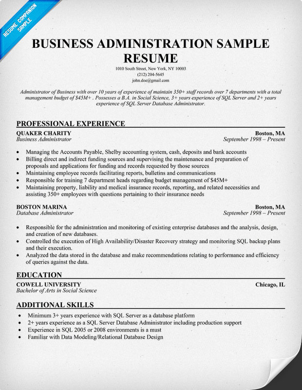 Magnificent Resume For Business Administration Student Model ...