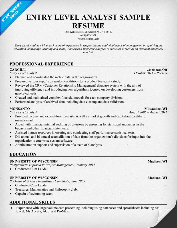 entry level business analyst resume samples