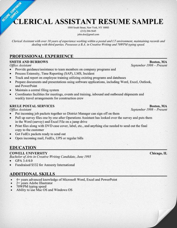 Clerical Resumes Resume Sample