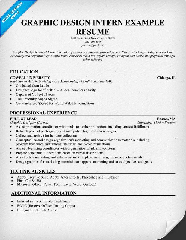 Resume For Fashion Design Internship