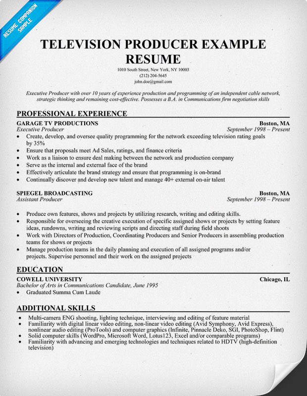 television resume template