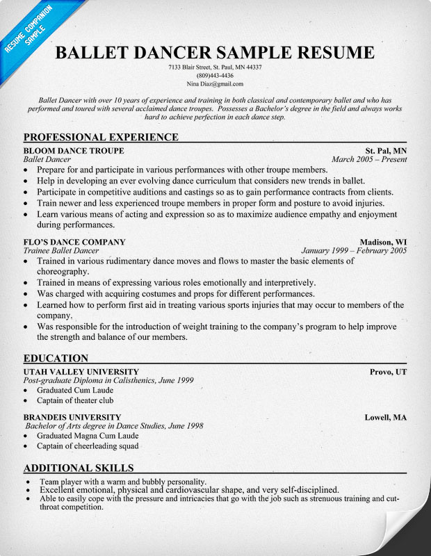 Write A Quality Resume Step 7 Dance Example Of