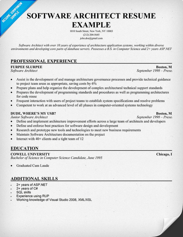 Software Architect Resume Examples Examples of Resumes