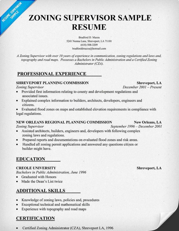 sample zoning supervisor resume