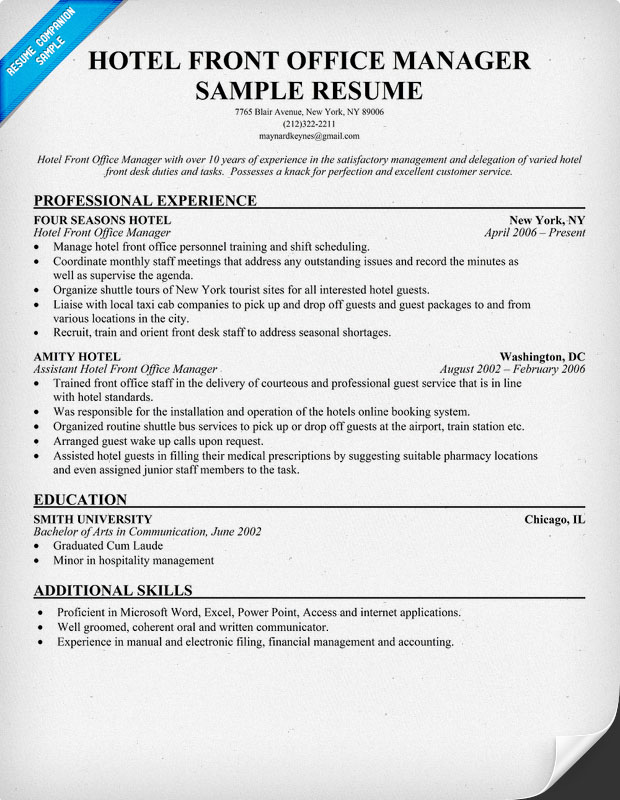 hotel front office resume