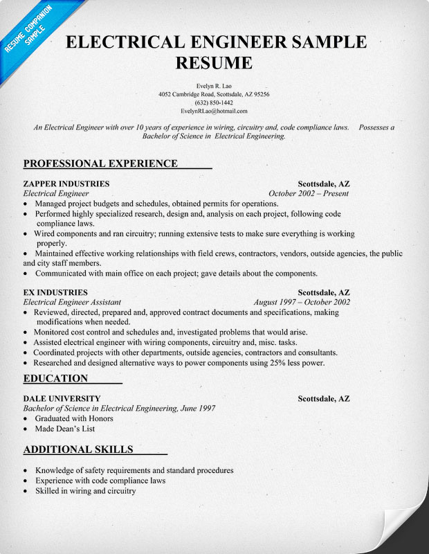 Sample Resume For Electrical Engineer Technician Free Downloadable Resume Templates