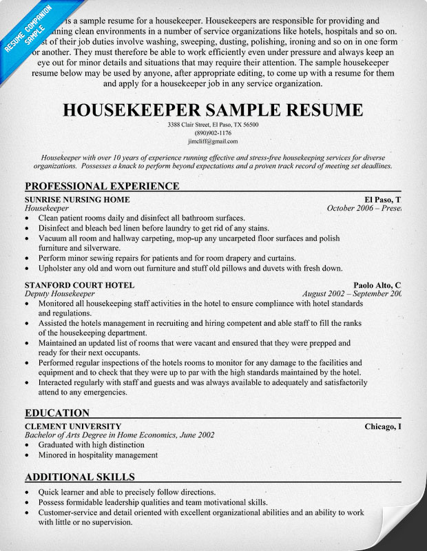 Free Housekeeping Resume Hotel Housekeeper Resume The Resume  Sample Resume For Housekeeping