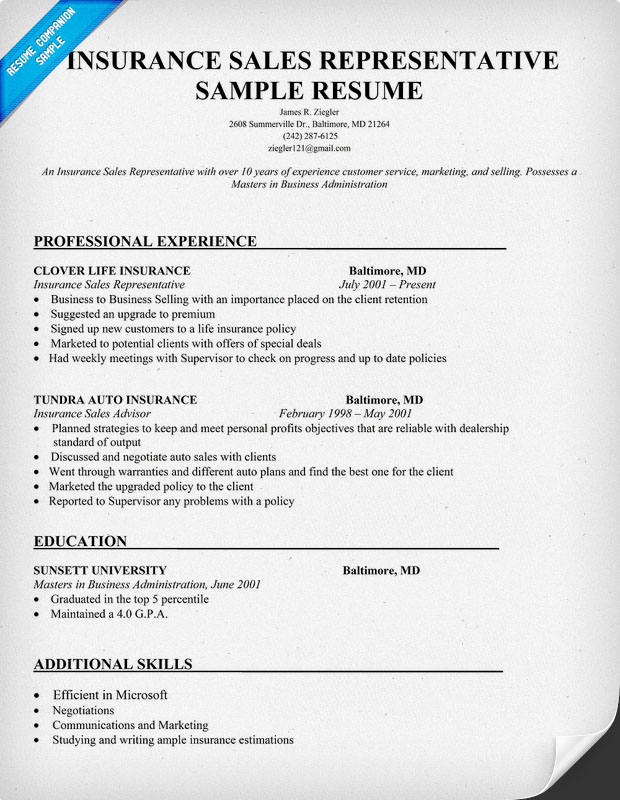 Insurance Agent Resume Examples. Insurance Resume Sample. Health