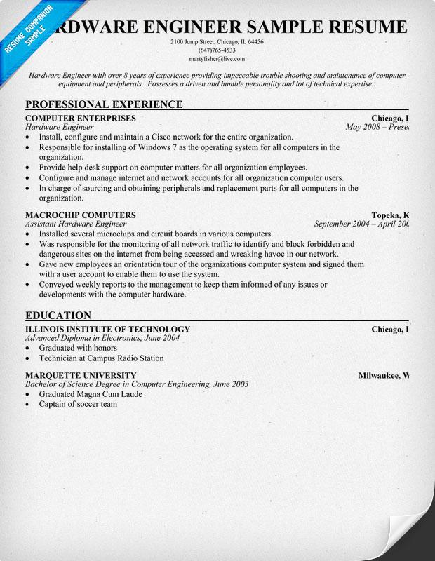 electronics hardware engineer resume sample