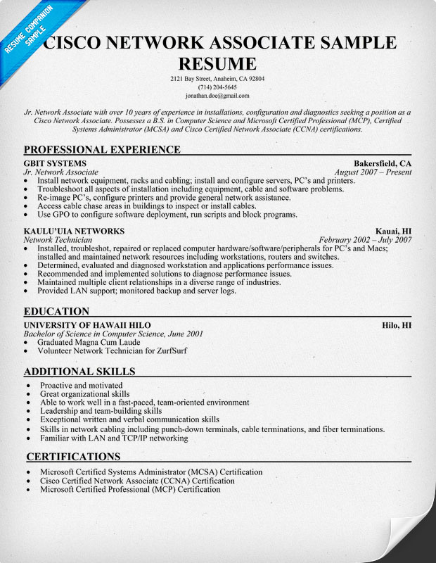 cisco ccna resume samples