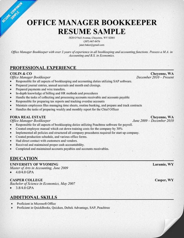 sample bookkeeping resume