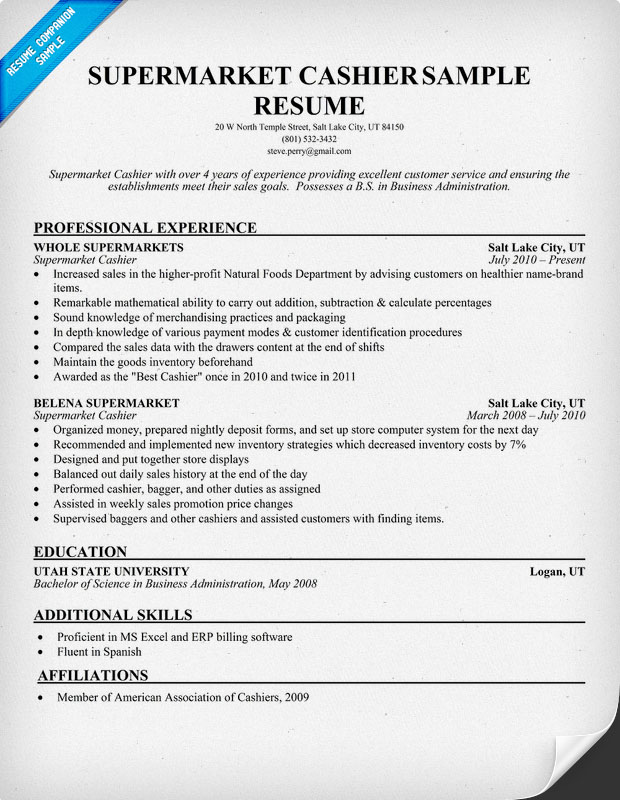 Resume Sle For Cashier Position Professional Cashier Templates