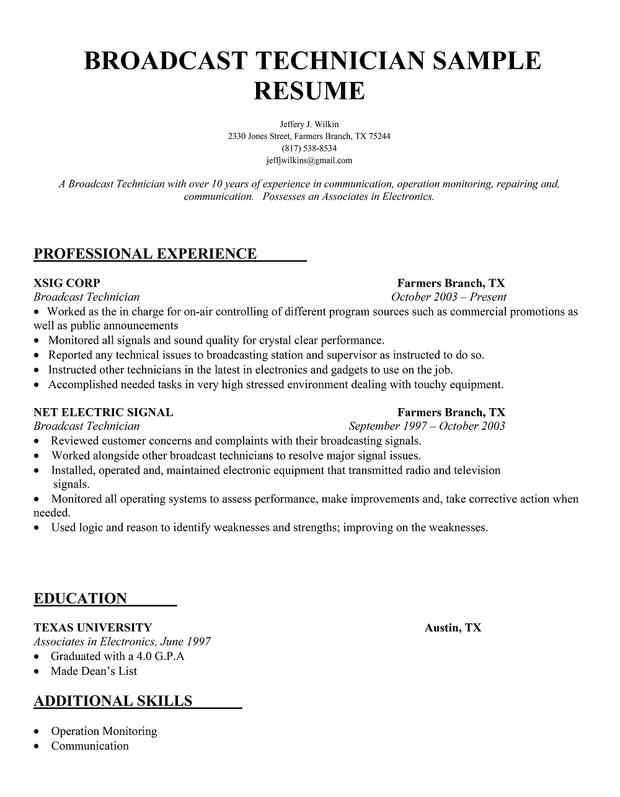 broadcast technician resume sample