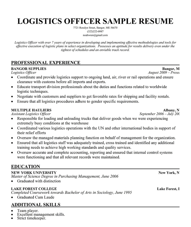 Logistic Officer Resume Logistics Officer Cv Sample Myperfectcv