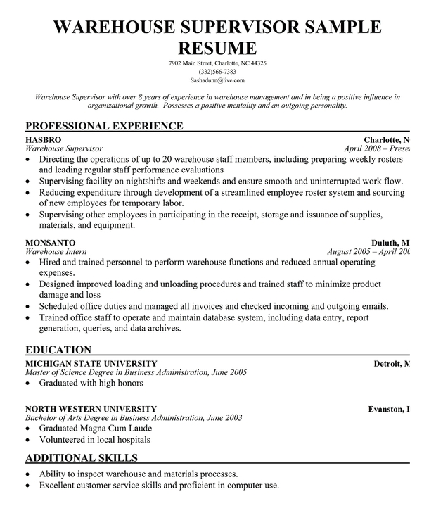Warehouse Resume Template Warehouse Resume Warehouse Worker  Sample Resume For Warehouse Worker