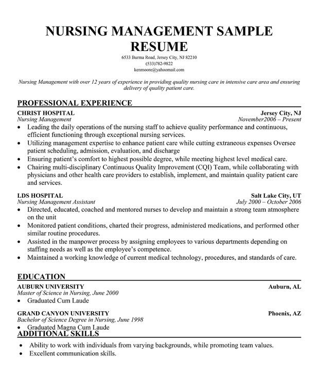 One Of The Many Examples Of Nursing Cover Letters Has Been: Resume Template Nurse Manager