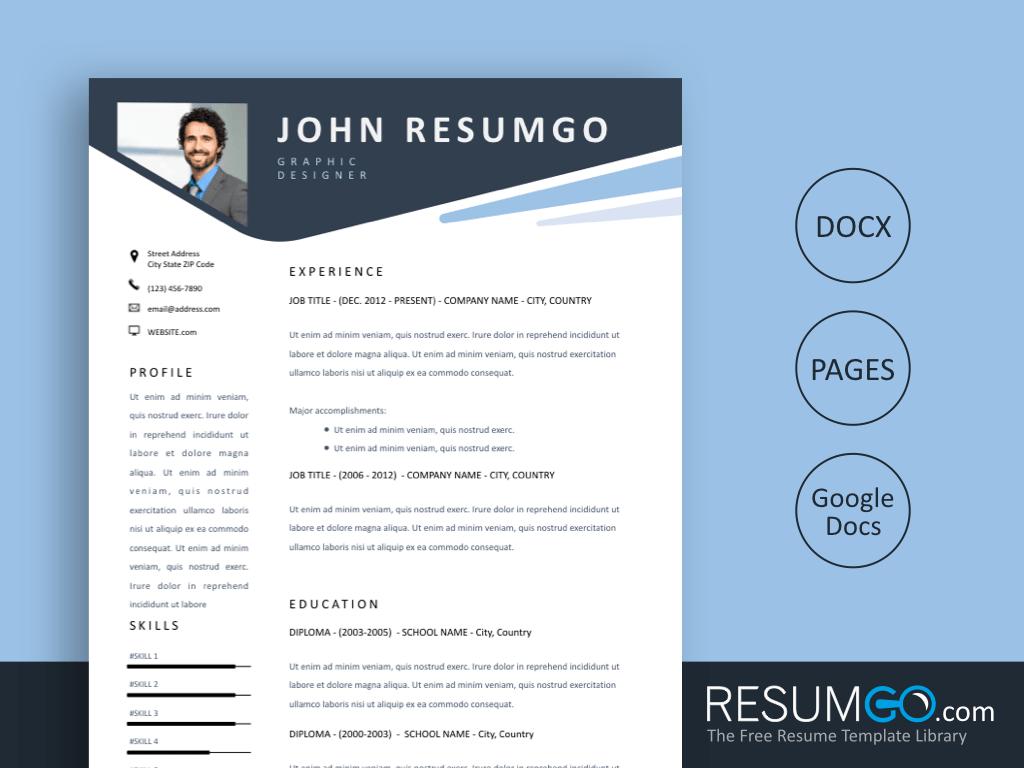 modern resume black header