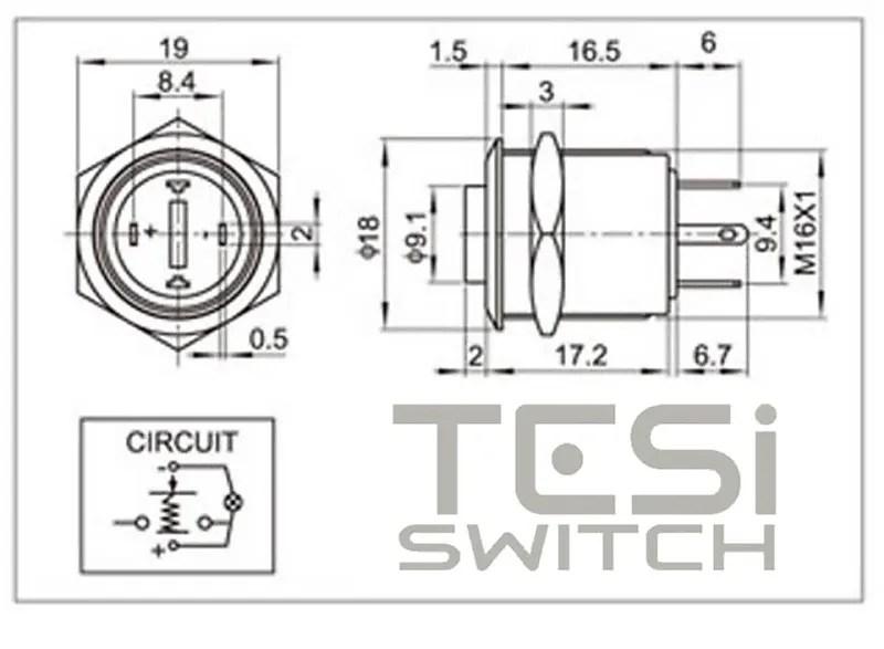 Tesi FILO 16MM LED Momentary Push Button Guitar Kill