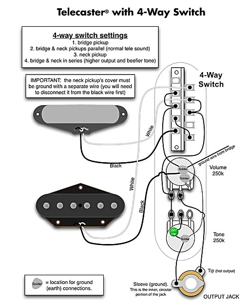 Fender Telecaster 4-Way Switch Harness! CTS, Mojo Tone