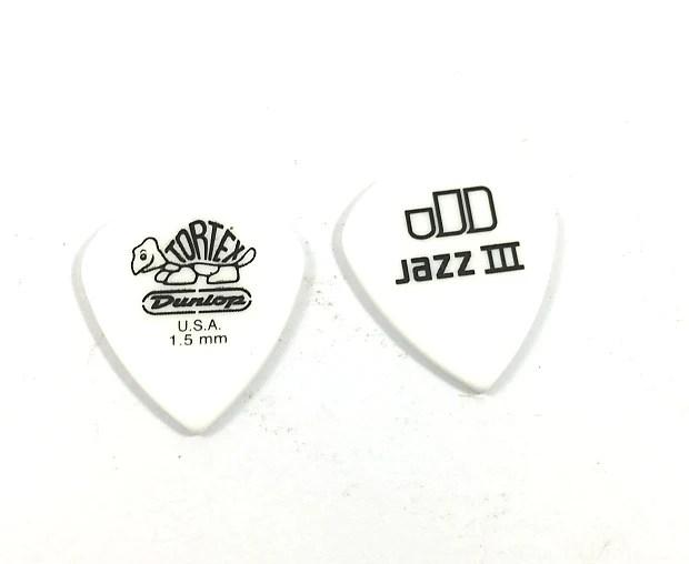 Dunlop Guitar Picks 12 Pack Tortex White Jazz III 1.50mm