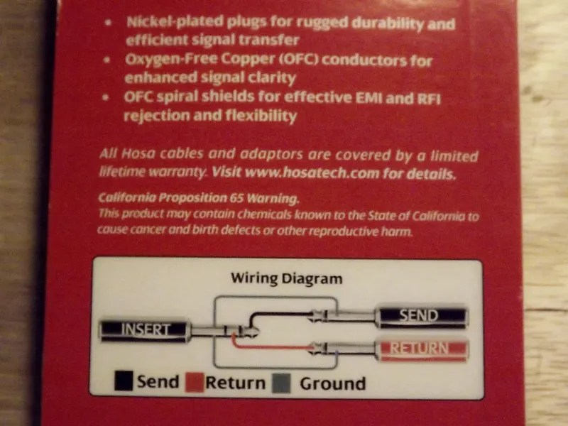 trs insert cable wiring diagram clipsal 2000 light switch hosa stp201 1 4 to dual ts reverb meter