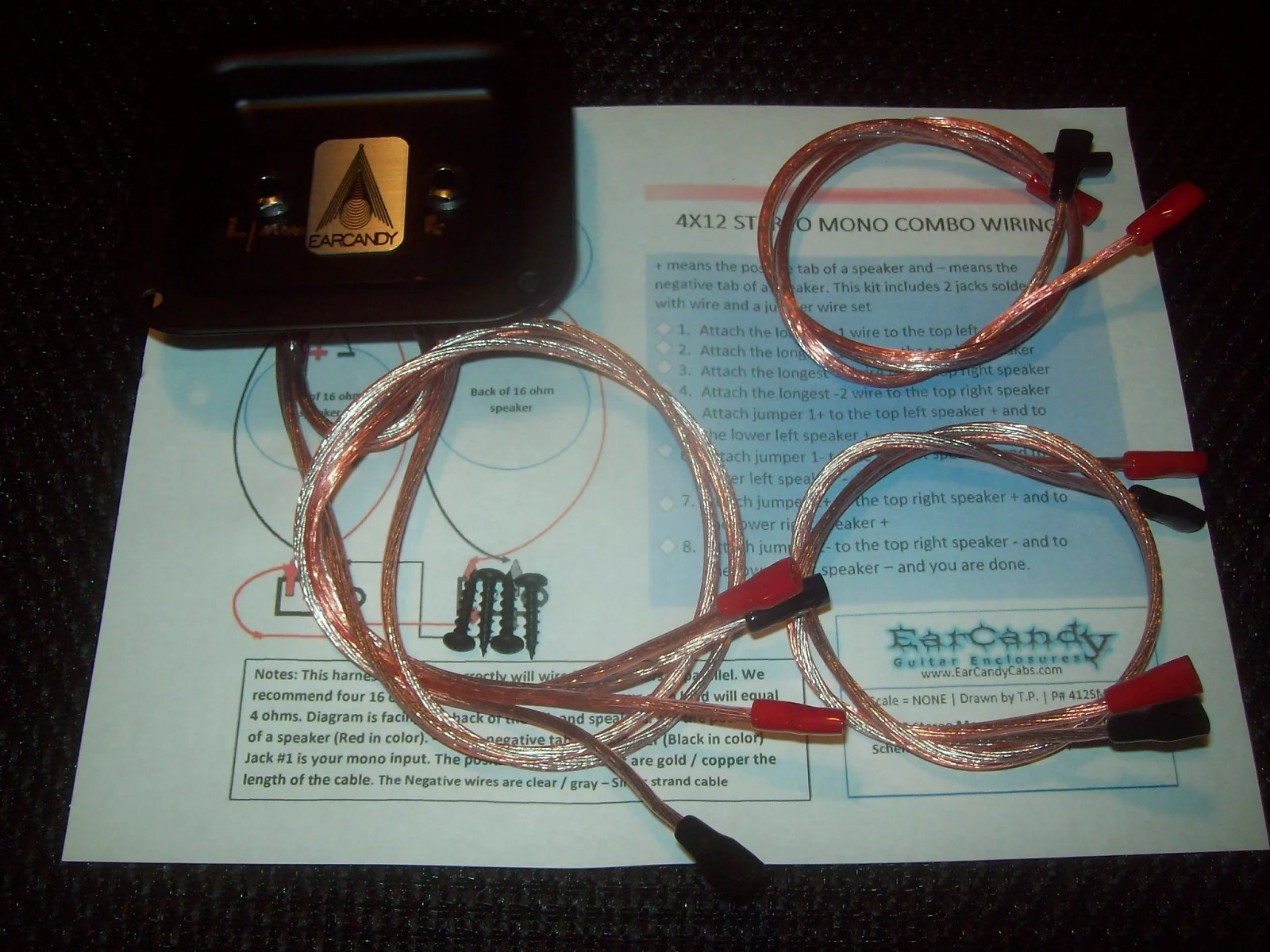 hight resolution of earcandy 4x10 4x12 stereo mono combo guitar or bass speaker cab wiring harness plate no soldering