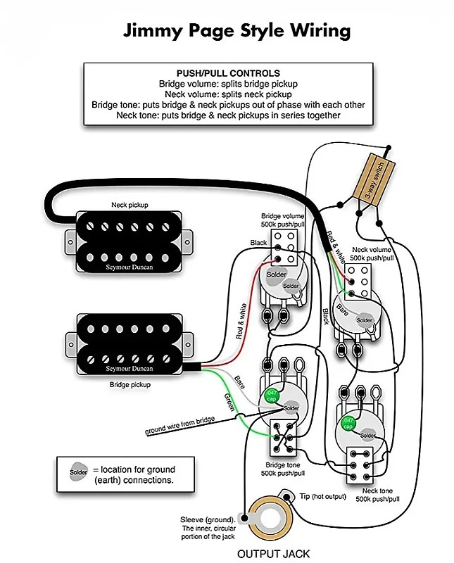 Wiring Harness Jimmy Page upgrade for Gibson Les Paul NEW