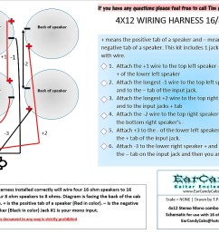 earcandy 4x10 4x12 guitar amp speaker cab wiring harness 4 8 or 16 ohm series parallel no soldering [ 1199 x 824 Pixel ]