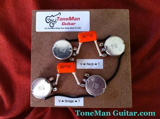 guitar pots wiring diagram muscle anterior hand les paul 50's harness - .022uf orange drop tone | reverb