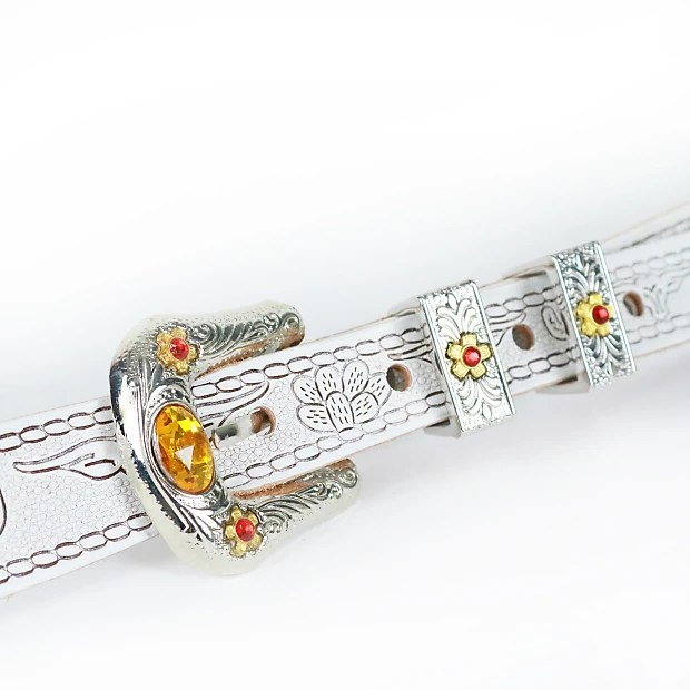Gretsch Tooled Leather Guitar Strap Vintage Style White