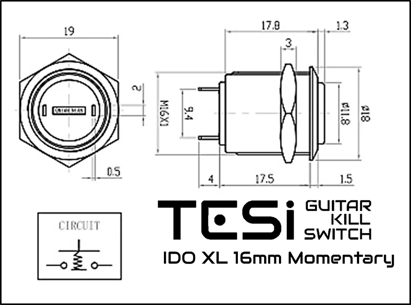 Tesi IDO/XL 16MM Gold Metal Momentary Push Button Guitar