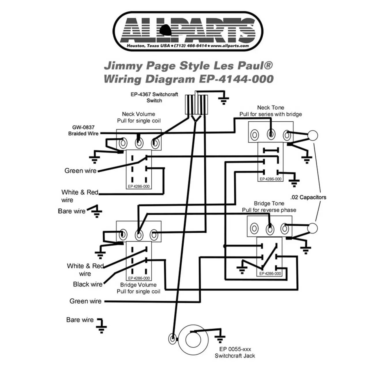 Wiring kit gibson® jimmy page les paul plete with reverb