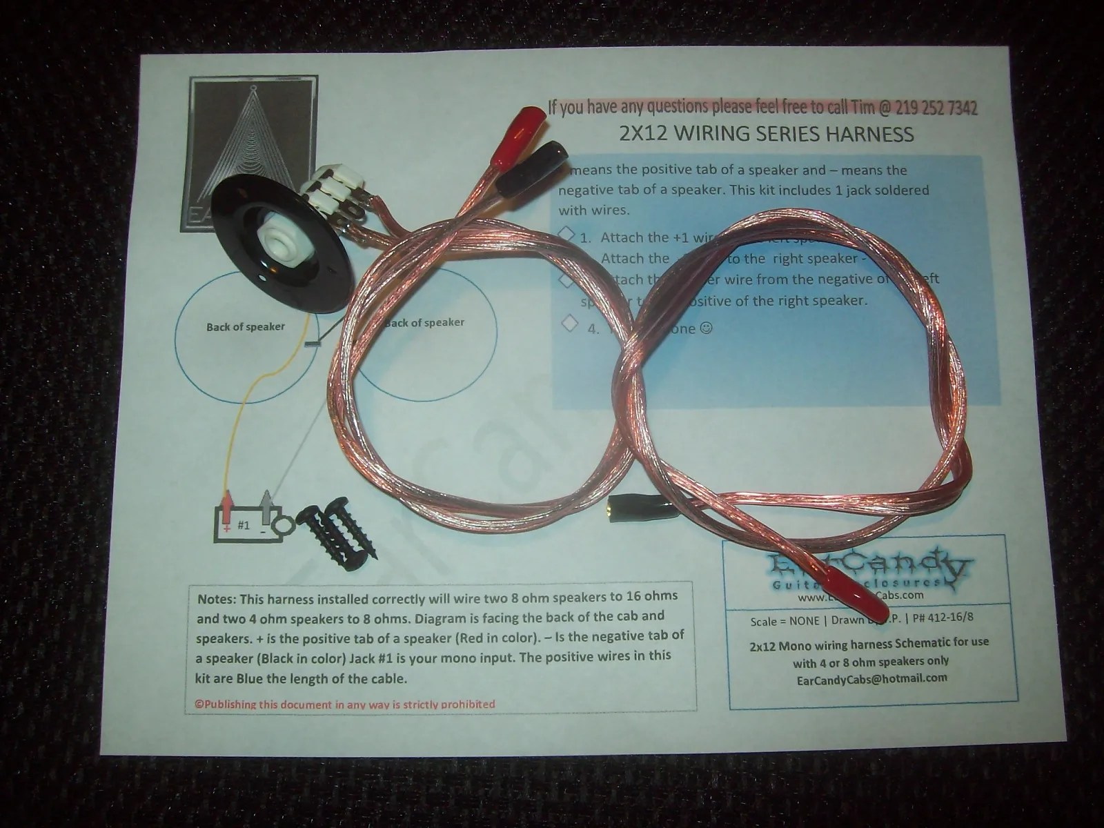 hight resolution of earcandy mil spec 2x12 guitar amp speaker cab series wiring harness w jack cup hardware no soldering