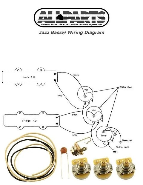 guitar parts diagram 94 chevy 4l60e transmission wiring new jazz bass pots wire kit for fender reverb