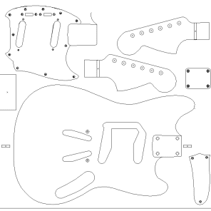 Fender '64 Mustang routing template. vinyl guitar making