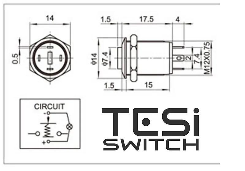 Tesi POCO 12MM LED Momentary Push Button Guitar Kill