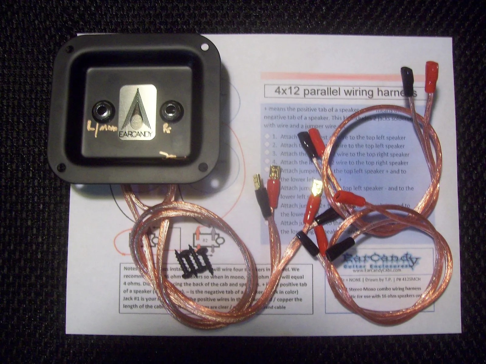 hight resolution of earcandy 4x10 4x12 guitar speaker cab wiring harness 8 16 ohm series parallel no soldering p out