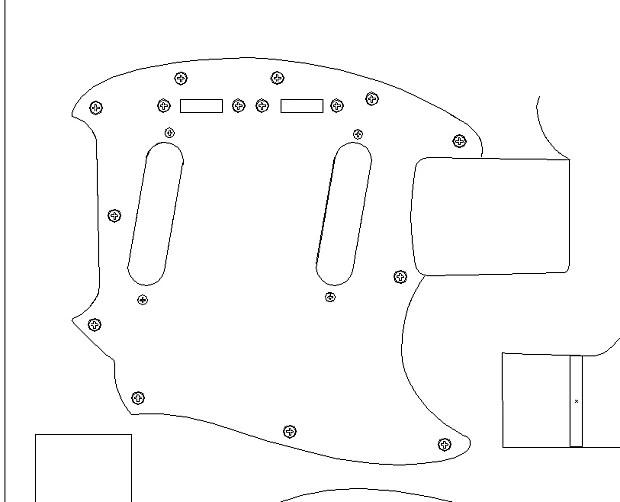 Fender '64 Mustang routing template. vinyl guitar making