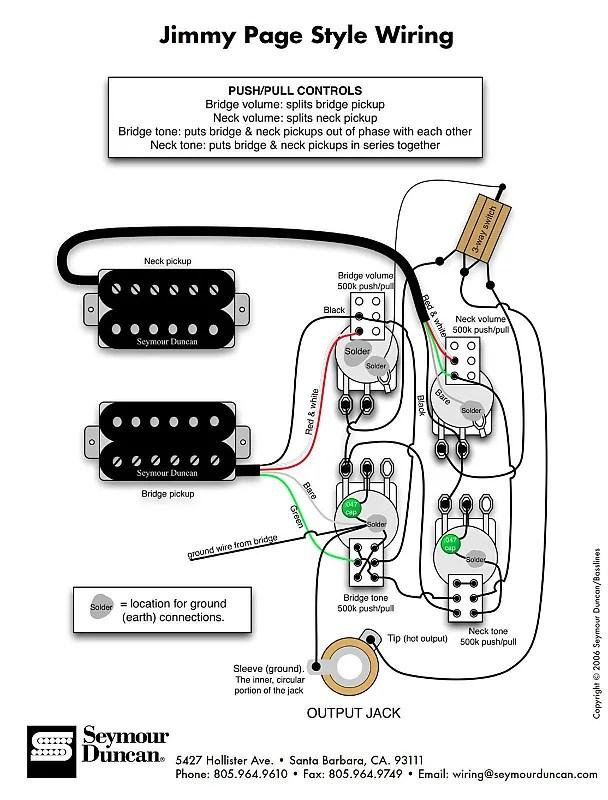 Duncan Pearly Gates Humbucker Pickup Set, Black + Page Les