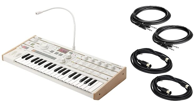 Korg MicroKorg S w/ 2 Instrument & 2 MIDI Cables Bundle