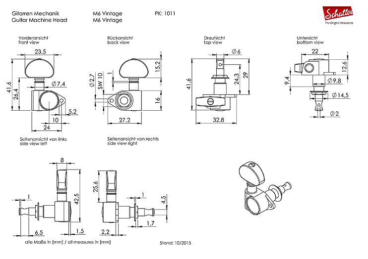 Genuine Schaller M6 Vintage 3+3 Black Chrome 10110423.13