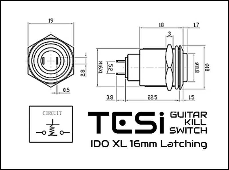 Tesi IDO L/XL 16MM Black Metal Latching Push Button Guitar