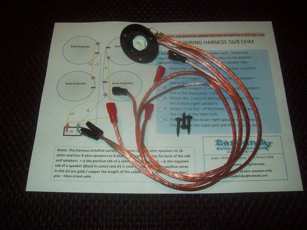 medium resolution of earcandy 4x10 4x12 guitar amp speaker cab wiring harness 4 8 or 16 ohm series parallel no soldering