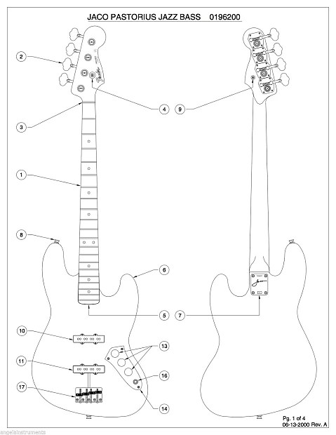 Angela Level 1 Wiring Kit For Fender Jazz Bass With CTS