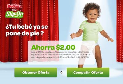 ¿Tu bebé ya se pone de pie? Ahorra $2.00 en cualquier (1) paquete de los pañales Little Movers Slip-On® de HUGGIES®, o comparte con tres amigos y ahorra &2.50 en cualquier (1) paquete de Little Movers Slip-On® de HUGGIES®