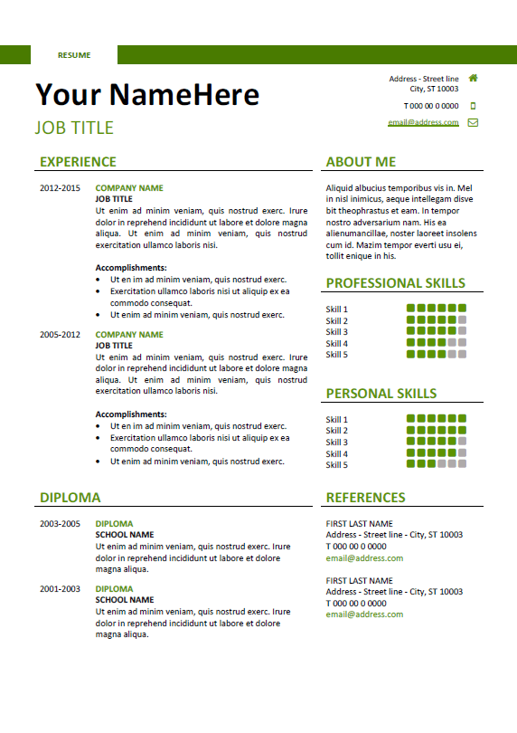 Free Quick Cv Template | Best Collection Rooms Chairs
