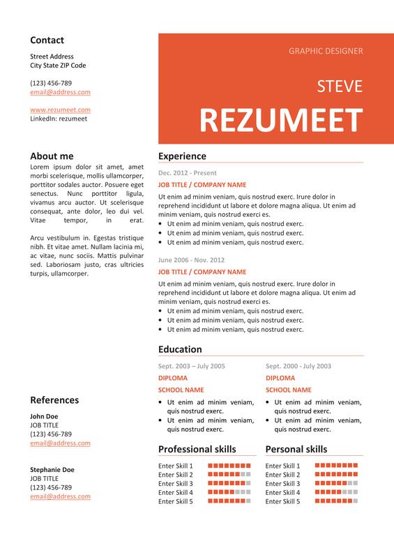 Peckham Free Resume  CV Template  Rezumeetcom