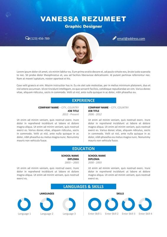 scuba diving resume template