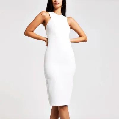 white high neck midi