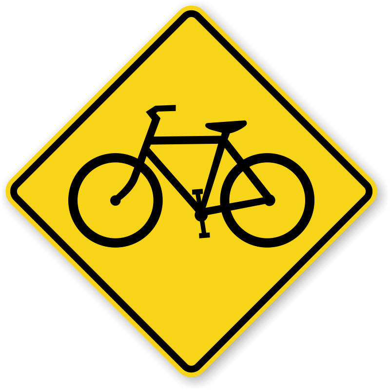 Bicycle Crossing Signs  Fluorescent Diamond Grade